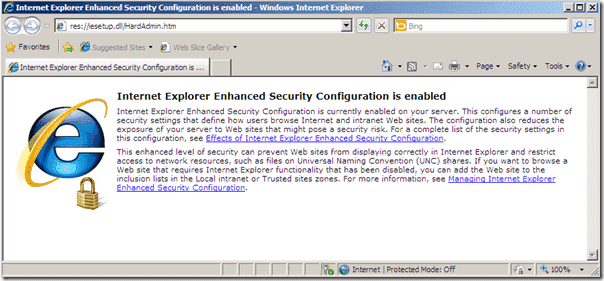 Disable Internet Explorer Enhanced Security Windows Server 2008 R2 - IE