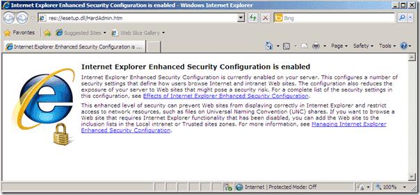 Disable Internet Explorer Enhanced Security Windows Server 2008 R2 - IE