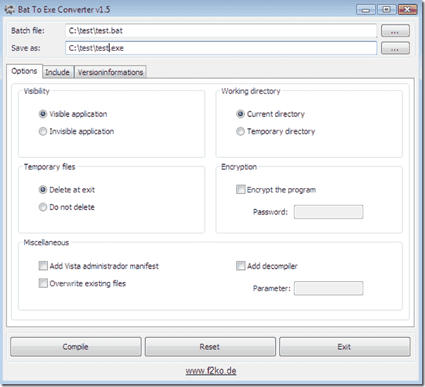 exe to batch file converter