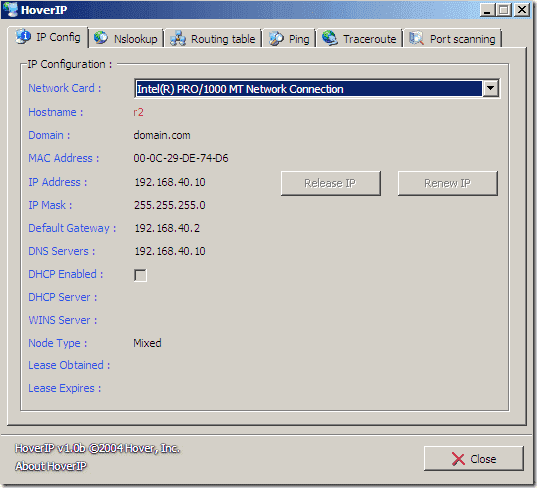 FREE: HoverIP – GUI for ipconfig, nslookup, routing table