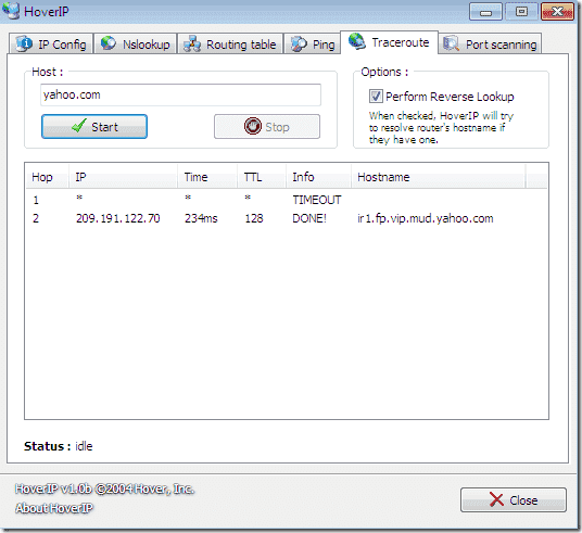 FREE: HoverIP – GUI for ipconfig, nslookup, routing table, ping