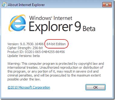 Interne Explorer 64.bit vs. 32bit - Check bit-versions