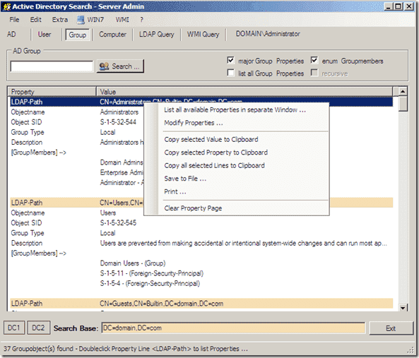 Search Active Directory with ActiveDirectory.Search Server Admin Search Results
