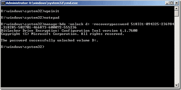 Unlock BitLocker Windows.PE