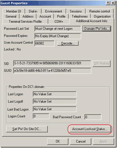 Unlock Account - acctinfo.dll