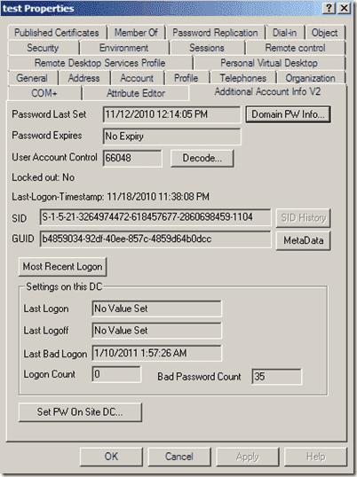 Unlock account - acctinfo2 64-bit