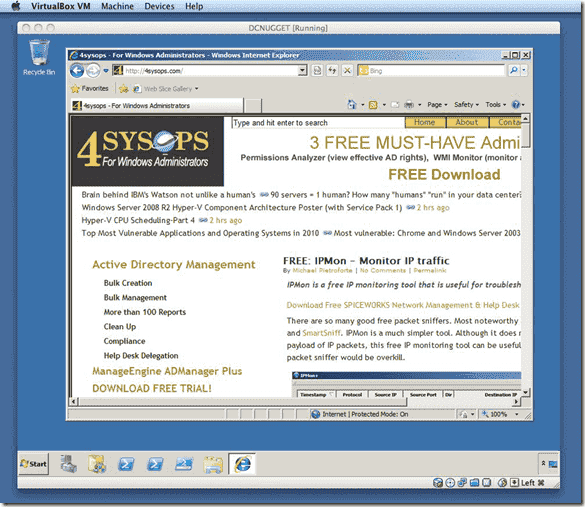Internet Explorer for Mac OS X - VirtualBox