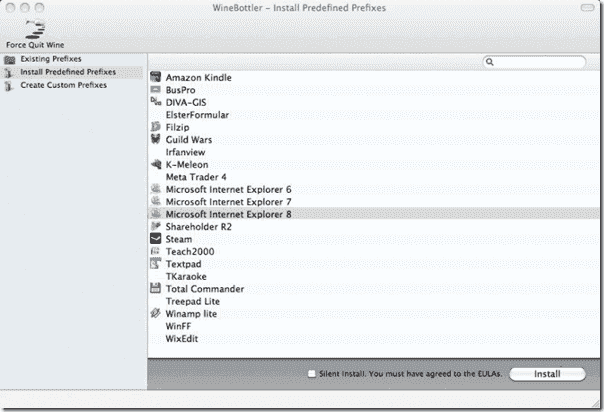 Internet Explorer for Mac OS X - WineBottler - Install Predefined Prefixes