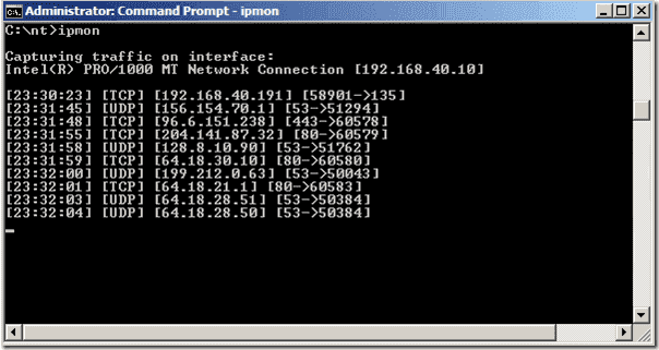 Monitor IP Traffic - IPMon - command line