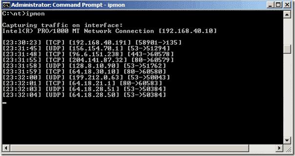 Monitor IP Traffic - IPMon - command line