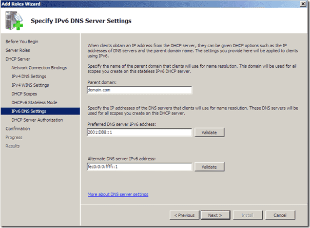 Difference stateless stateful mode - DHCP IPv6 - DNS Settings