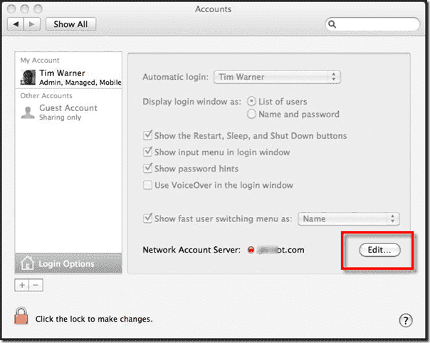 Mac OS X Active Directory Join - Login Options