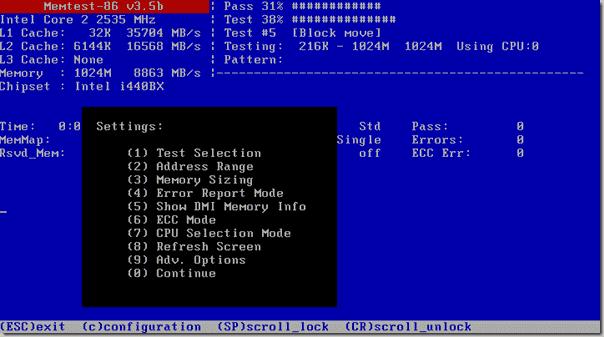 Memory Diagnostic Tool - Memtest86 - Settings