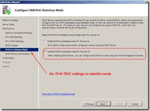 DHCPv6 server stateful mode