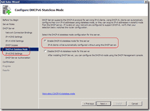 DHCPv6 server stateless mode