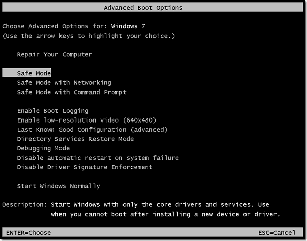 Installing in Safe Mode - Launch Safe Mode