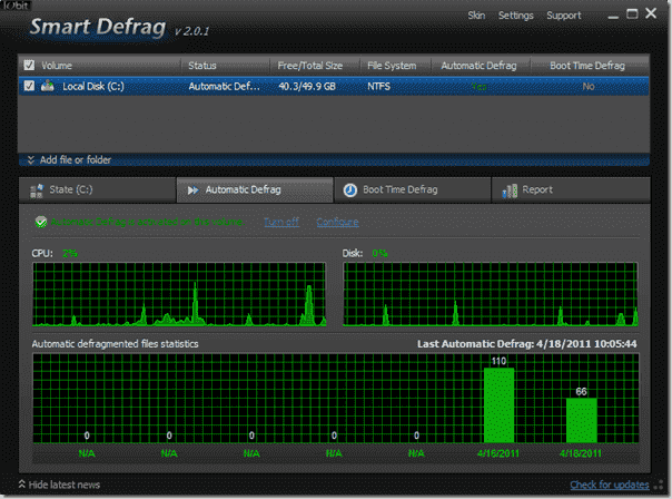 Defragmentation Tool Iobit - Smart Defrag - Automatic Defrag