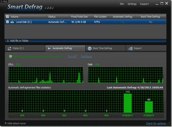 Defragmentation Tool Iobit - Smart Defrag - Automatic Defrag