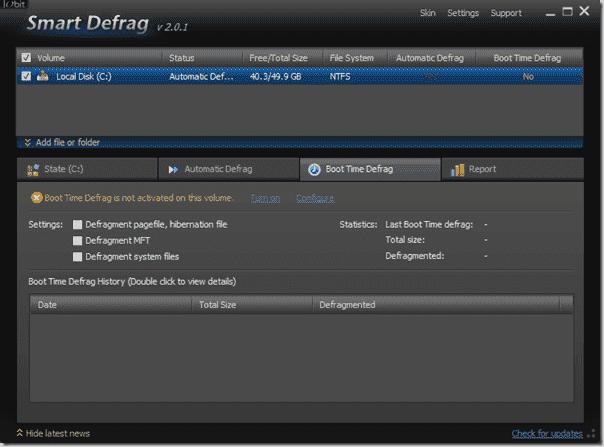 Defragmentation Tool - Iobit Smart Defrag - Boot Time Defrag