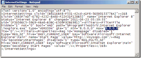 Group Policy Prefenrences - Internet Explorer 9 - InternetSettings