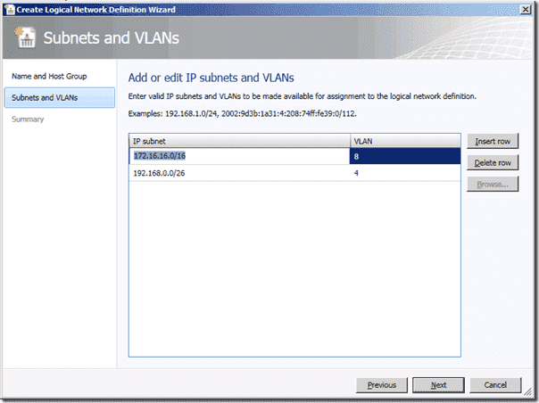 System Center Virtual Machine Manager 2012 - Create Logical Network Definition