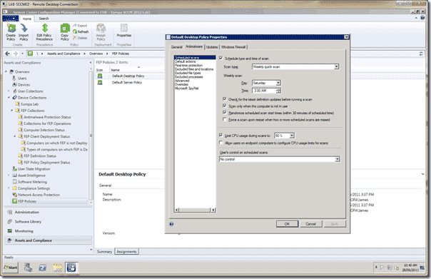 Forefront Endpoint Protection 2012 Configuration