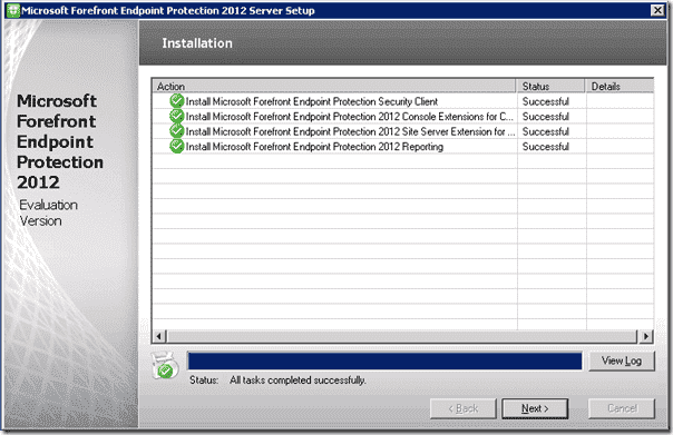 Forefront Endpoint Protection Installation - Installation