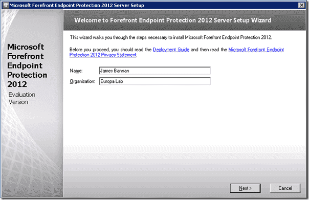 Forefront Endpoint Protection Installation - Name and Organization