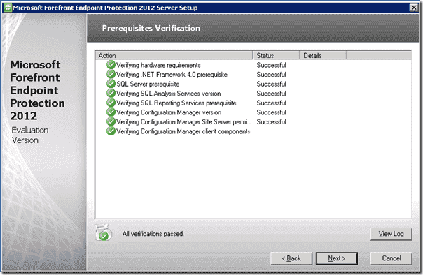 Forefront Endpoint Protection Installation - Prerequisite Verification