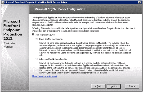 Forefront Endpoint Protection Installation - SpyNet Configuration Policy