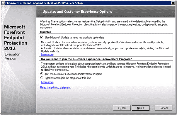 Forefront Endpoint Protection Installation - Updates and Customer Experience Options