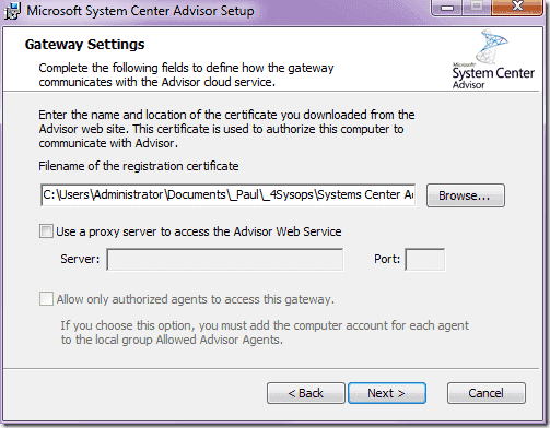 System Center Advisor - Agen Installation Certificate