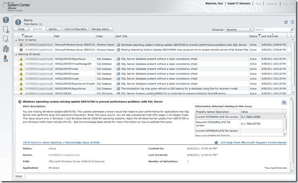 System Center Advisor - Console Alert