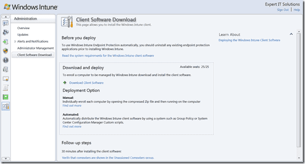 Windows Intune Client SW Download