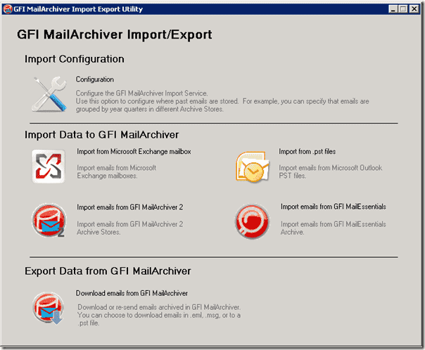 Email Archiving Software - GFI MailArchiver Import-Export