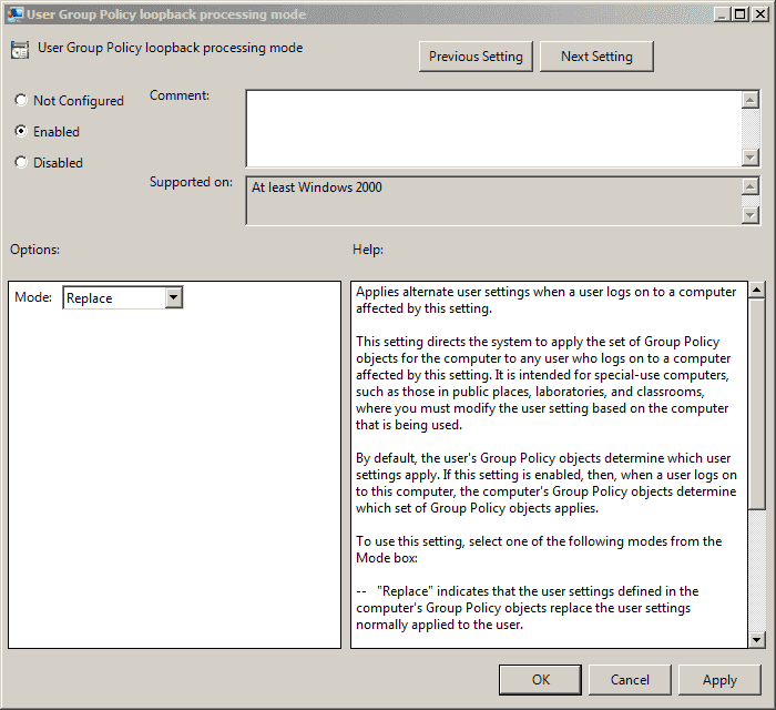 Group Policy Loopback Processing – Part 2: Replace Mode and Merge