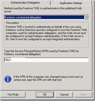 Kerberos Constrained Delegation - TMG Listener -SPN configure