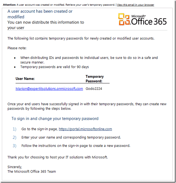 Office 365 review - Authentication - User Confirmation Email