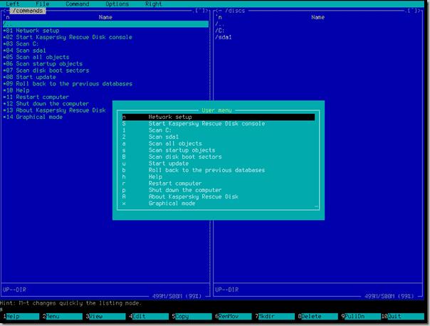 Offline antivirus tool - Kaspersky Rescue Disk - Text mode