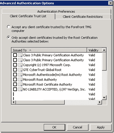 SSL Client Certificate Authentication - Advanced Authentication Options