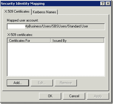 SSL Client Certificate Authentication - Security Identity Mapping