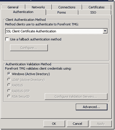 EXBlog: How to configure TMG for SSL Client Certificate Authentication