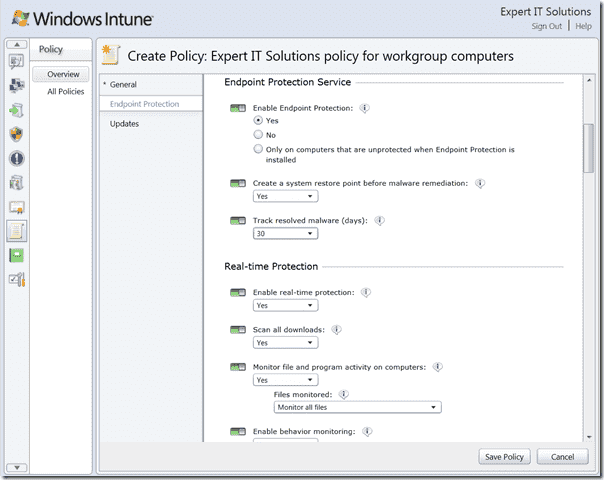 Windows Intune - Console Policy