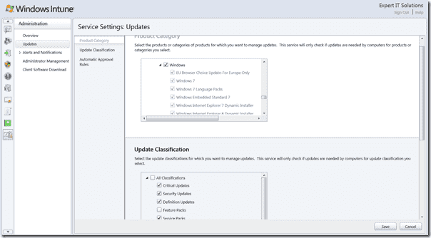 Windows Intune Review - Console Update Definitions