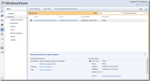 Windows Intune Review - Intune Console Remote Assistance