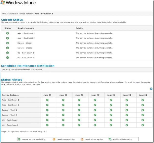 Windows Intune - Status Page