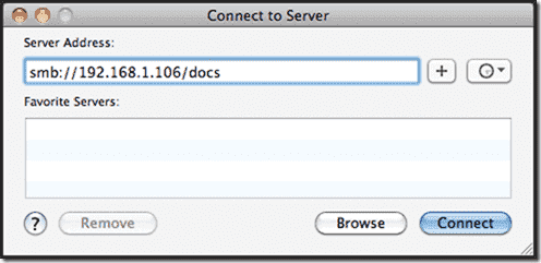 Windows share on Mac OS X - The Connect to Server dialog box