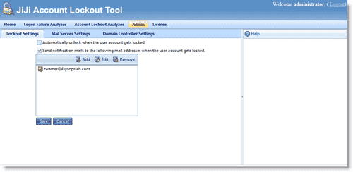 JiJi Account Lockout Tool - Configuring notification settings