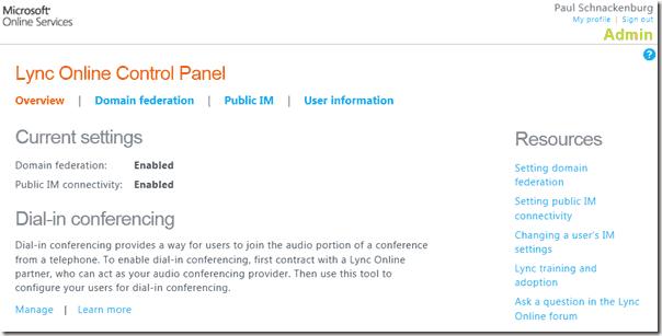 Lync Online - Control Panel