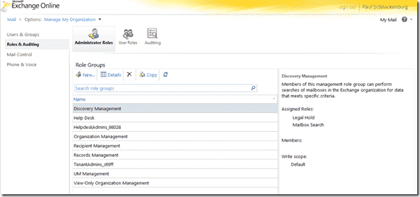 Office 365 reveiw -Exchange Control Panel -  Admin Roles
